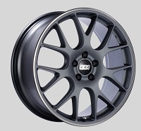 BBS CH-R 20x8.5 5x114.3 ET38 Satin Titanium Polished Rim Protector Wheels -82mm PFS/Clip Required