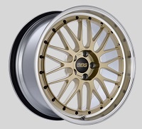 BBS LM 20x9.5 5x114.3 ET40 CB66 Gold Center Diamond Cut Lip Wheels