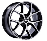 BBS SR 17x7.5 5x114.3 ET42 Satin Black Diamond Cut Face Wheels -82mm PFS/Clip Required